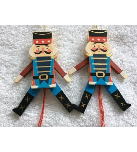 2 Retro Style Wooden Nutcracker /  Soldiers with pull string