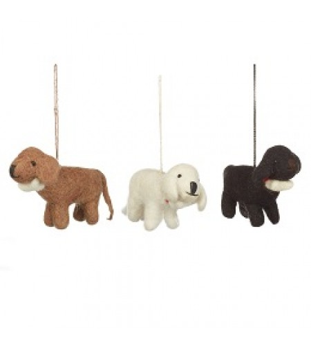 "Hand made ethical felt tree decorations ""Dog with a bone"""