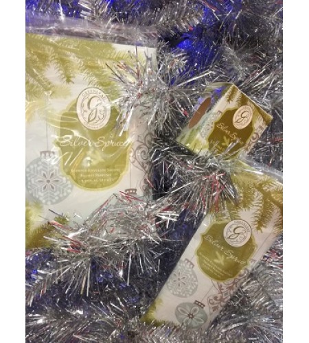 GreenLeaf  3pc Silver Spruce Scented Sachet & Candle Set