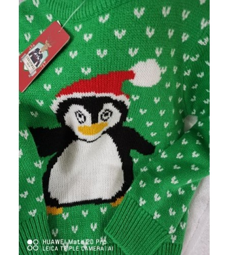 Childrens Christmas Jumper  Penguin Design 5/6 years