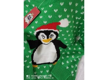 Childrens Christmas Jumper Cool Penguin Design 7/8 yrs