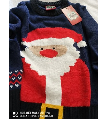 Childrens Christmas Jumper with Santa Design Front size 3/4 years