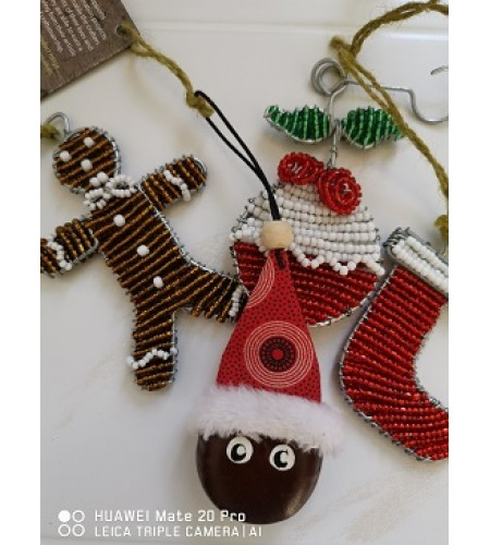 "Set of ""4"" Handcrafted Christmas Decorations Zuza Trading"