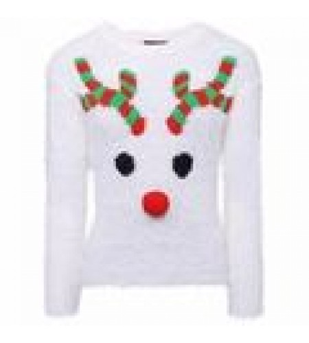 Ladies Christmas Jumper size 16/18 with Rudolph Pattern with Red nose