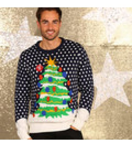 Christmas  Jumper with Christmas Tree design and Flashing Lights size Large