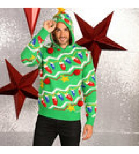 Hooded Christmas Jumper with Tree Lights Pattern and Stars size 2XL