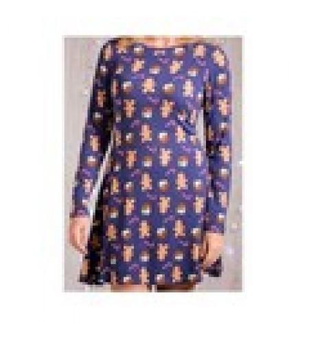 Blue Skater Dress with Gingerbread Design size XL